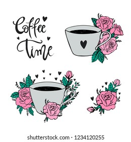 Coffee time hand lettering phrases on isolated white fone. stickers for coffeshop. Coffe time cute art. Cute cup with flowers.