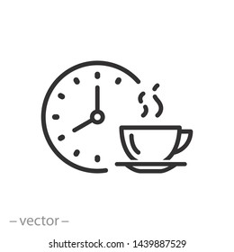 coffee time icon, tea time , thin linear symbol for web and mobile phone on white background - editable stroke vector illustration eps10