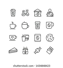 Coffee time icons. Set of line icons. Morning coffee, take away coffee, chocolate cookie. Coffee break concept. Can be used for topics like business process, everyday routine, food, office life