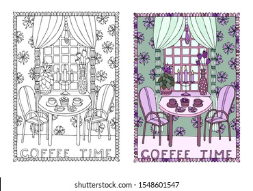 Coffee time. Illustration depicting a coffee table near a window. Hand drawn illustration. Sketch for adult coloring book. Can be used for postcard, greeting card, signboard or poster design.