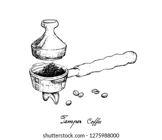 Coffee Time, Illustration Hand Drawn Sketch of Roasted Coffee Beans in Metal Portafilter or Filter Holder with Tamper of Espresso Machine.