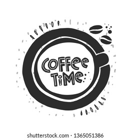Coffee time lettering icon. Motivational handwritten phrase. Ink hand drawn vector illustration. Bar, poster, logo, cafe, street festival, farmers market, country fair, shop, restaurant, food studio