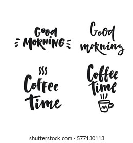 Coffee time. lettering set