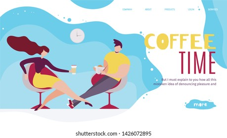 Coffee Time in Office Landing Page. Workflow and Time Management. Workplace Culture and Business Productivity. Efficient Worktime Use. Food Delivery Service. Vector Flat Team Rest Illustration