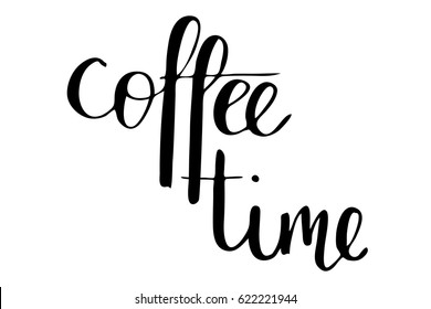 Coffee time phrase banner modern calligraphy lettering handwritten black text isolated on white background vector. Each word is on the separate layer