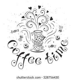 Coffee time poster concept. Coffee party card design. Hand drawn doodle illustration with teapots, cups and sweets.