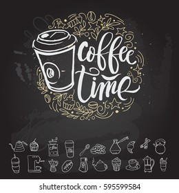 Coffee time poster and icon outline set Hipster Vintage Stylized Lettering. Vector Illustration. Chalkboard design