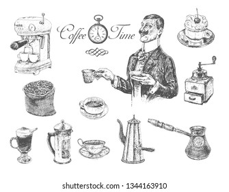 Coffee time set with coffee maker, grinder, coffee pot, French press, Cups, Bag With Beans,. Gentleman holding cup. Vintage engraving style. Victorian Era hand drawn vector illustration