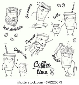 Coffee time sketch style characters