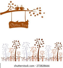Coffee time. Tree silhouette with cups in love on tree branch