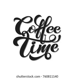 Coffee time. Vector illustration of handwritten lettering. Vector elements for coffee shop, market, cafe design, restaurant menu and recipes.