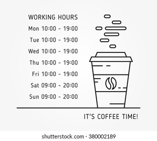 Coffee time working hours linear vector illustration on gray background. Coffee store (house, shop) hours of operation creative graphic concept. Graphic design template for restaurant, cafe, banner.