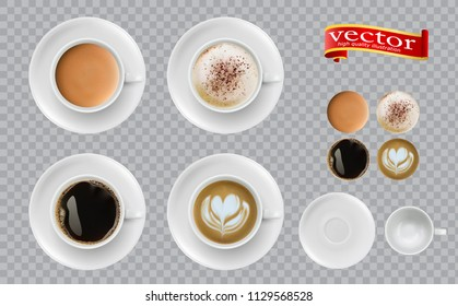 Coffee top view. Mugs with espresso cappuccino cocoa americano. Easy to edit 3d realistic vector illustration. Set of Coffee Cup - Mockup template for Cafe, Restaurant brand identity design.
