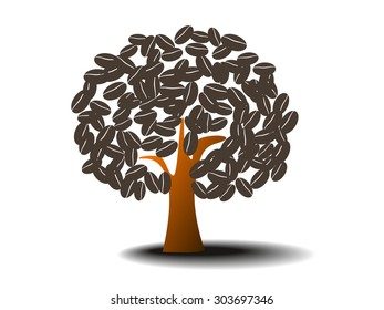 coffee tree on white background