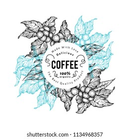 Coffee tree vector illustration. Retro coffee background. Hand drawn engraved style illustration.