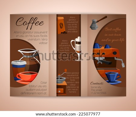 coffee trifold brochure leaflet cafe restaurant stock vector