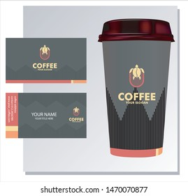the coffee turtle logo with a cup and business card template