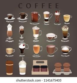 Coffee types menu with cups. vector set. Espresso, chocolate, mocha, irish, cocoa, frappe, glace, americano, latte, cappuccino.