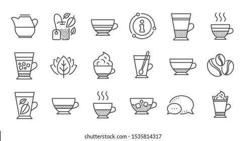 Coffee types and Tea icons. Mocha, Cappuccino and Latte. Americano cup linear icon set. Quality line set. Vector