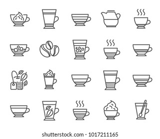 Coffee types and Tea icons. Set of Latte, Frappe and Cappuccino signs. Espresso, Doppio and Cafe Crema symbols. Americano, Whipped cream and Coffee with ice. Mocha, Herbal and Mint tea cups. Vector