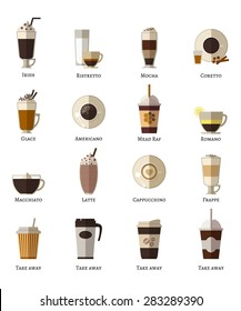 Coffee types vector flat icons set. Latte romano frappe glace take away correta mocha irish ristretto americano cappuccino espresso. Vector illustration