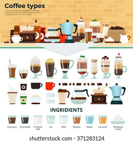 Coffee types vector flat illustrations. Many types of different coffee on the table. Energy, relax and break concept. Cups and glasses with tasty coffee, coffee machines and ingredients isolated