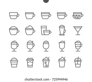Coffee UI Pixel Perfect Well-crafted Vector Thin Line Icons 48x48 Ready for 24x24 Grid for Web Graphics and Apps with Editable Stroke. Simple Minimal Pictogram Part 1-1