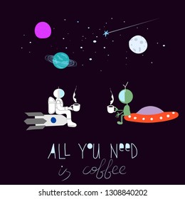 Coffee Universe Space extraterrestrial Star astronaut moon rainbow travel cosmos astronomy graphic design typography element. Hand written postcard. Cute simple vector paper cutout collage - Vector