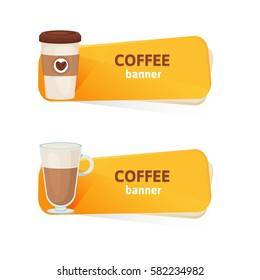 Coffee vector banners set on a white background
