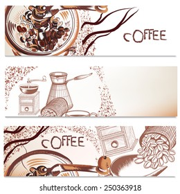 Coffee vector brochures set with hand drawn coffee for design