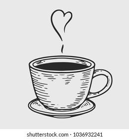 Coffee vector engraving  label. Hand drawn engraved vector sketch etch illustration.