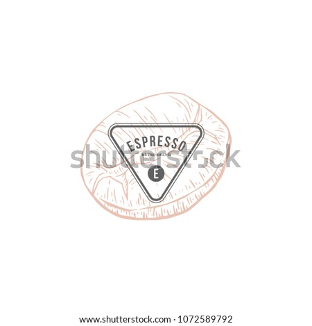Coffee Vector Hand Drawn Dairy Products Stock Image