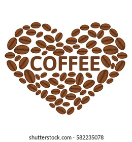 Coffee vector heart on a white background. I love coffee
