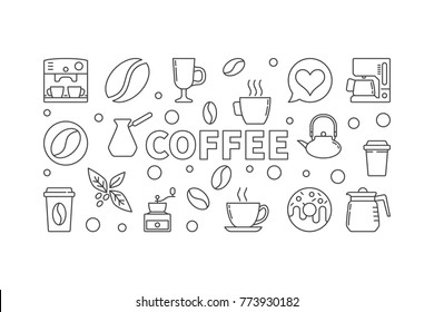 Coffee vector horizontal illustration. Vector concept banner made with outline coffee icons