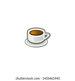 Coffee Vector Icon. Isolated Cup of Coffee Emoji, Emoticon, Illustration