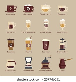 Coffee vector icon set menu. Coffee beverages types and preparation: espresso, mocha, macchiato, americano, latte,long black, cappucino, espresso con panna, flat