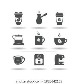 coffee vector icon set, coffee simple black icon