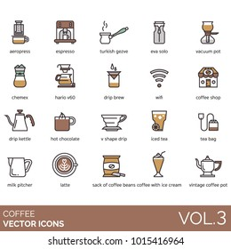 Coffee vector icons. Aeropress, espresso, turkish gezve/cezve, eva solo, vacuum pot, chemex, hario v60, drip brew, wifi, coffee pot, kettle, hot chocolate, v shape drip, iced tea, milk, latte, beans.