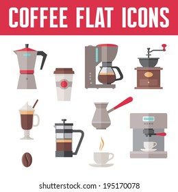 Coffee Vector Icons In Flat Design Style for menu, booklet, website etc.