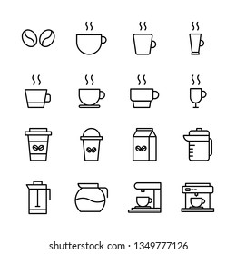 Coffee Vector Line Icons Set. Bean, Cup, Glass, Machine, Mug, Pot and more. Editable Stroke