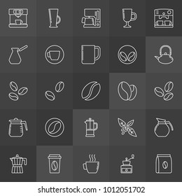 Coffee vector outline concept icons on dark background
