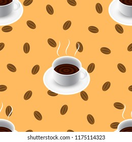 Coffee vector seamless pattern with cup and bean, eps 10. Design for web background, product cover, print, and promotional materials.