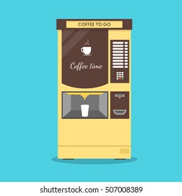 Coffee Vending Machine. Flat Design Style. Maker Hot Drink. Vector illustration of yellow hot black aroma automatic maker for espresso, caffeine or cafe drink, latte, mocha