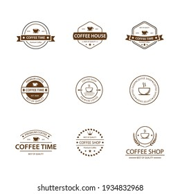 Coffee vintage logo vector icon pack