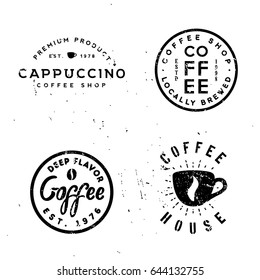 Coffee vintage minimal monochrome badges, retro old-styled labels for cafes