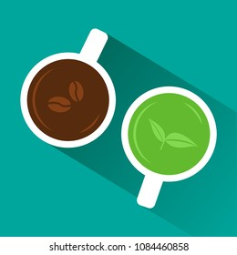 Coffee vs tea. View from above. White cup of coffee and green tea with shadow on turquoise background. Vector illustration