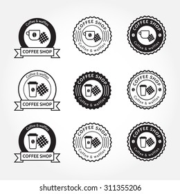 Coffee and waffles logo design. Set of 9 logotypes.  Perfect for your business. Coffee shop hipster logo. Coffee shop cafe logo design