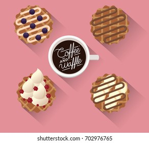 Coffee and waffles-Vector illustration