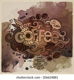 Coffee watercolor cartoon hand lettering and doodles elements background. Vector illustration