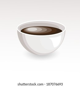 Coffee in white cup vector.